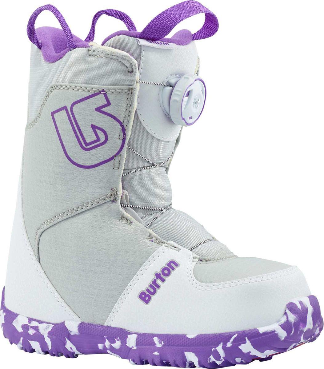 Ботинки для сноуборда Burton Grom Boa, цвет: белый, фиолетовый. Длина стельки 20 см15089101113Сноубордические ботинки для подрастающих райдеров,которые уже готовы отказаться от липучки в пользу системы шнуровки BOA.