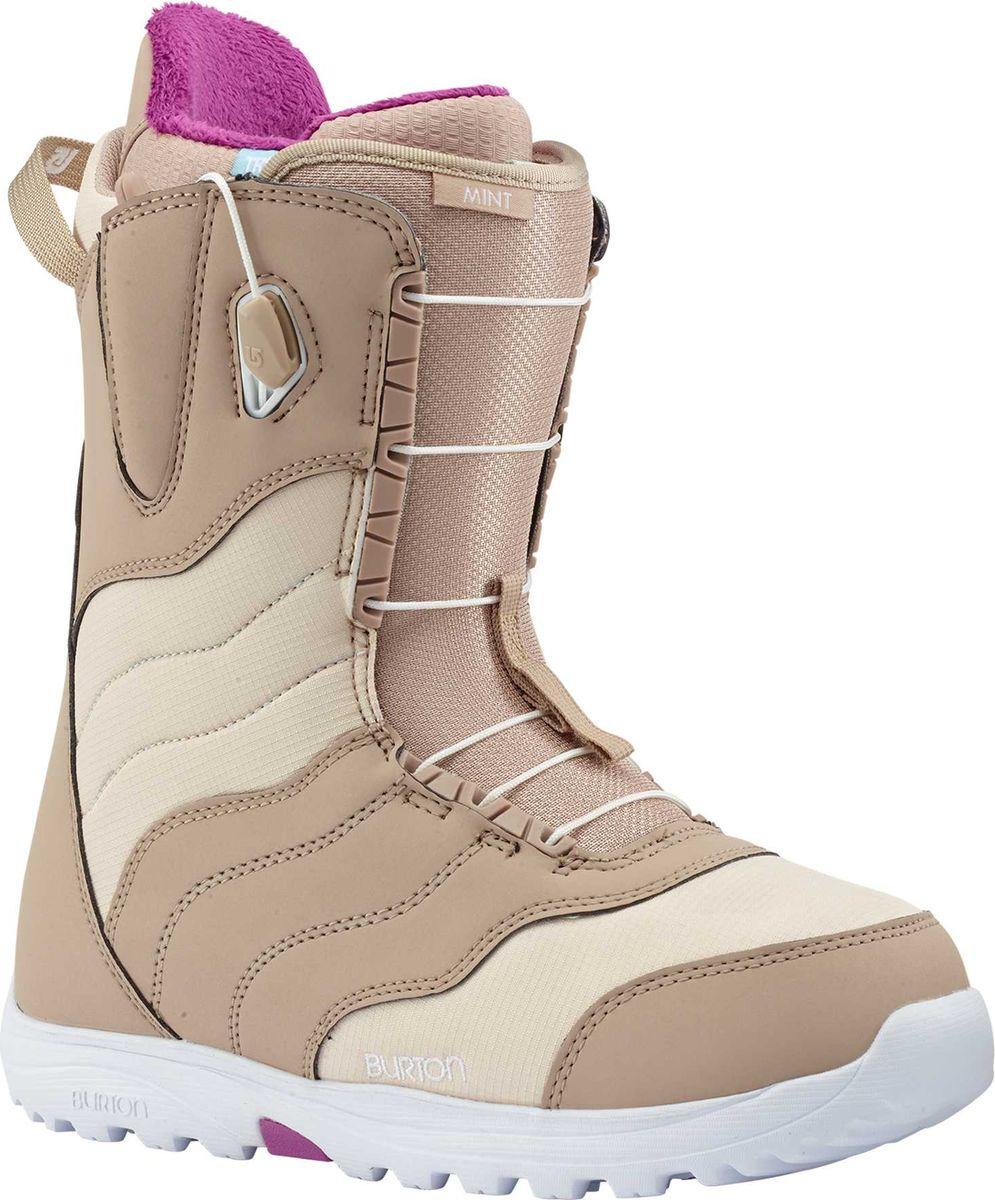 Ботинки для сноуборда Burton Mint Tan, цвет: бежевый. Размер 3910627104211Самые популярные в мире женские сноубордические ботинки! Очень легкие и невероятно комфортные, они, несомненно, помогут подарить массу приятных впечатлений на склоне начинающим сноубордисткам! Конструкция ботинка True Fit, создана специально для женщин с учетом особенностей катания и строения ноги. Также станут отличным выбором и для более опытных райдеров, которые предпочитают спокойное, комфортное катание и могут проводить на склоне много времени.