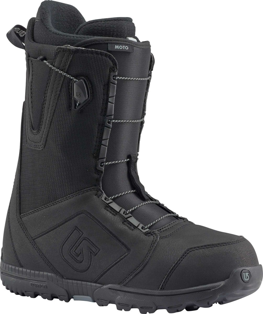 Ботинки для сноуборда Burton Moto, цвет: черный. Длина стельки 26,5 см10436103001Бессменный лидер продаж среди ботинок. А все потому,что он оснащен шнуровкой Speed Zone и покупка не ударит по вашему кошельку.Ультра-легкая подошва с отличной амортизацией, конструкция Total Comfort, которая подразумевает максимальное удобство с первого дня использования без необходимости разнашивать ботинок.Одна из самых популярных моделей не только в коллекции брэнда, но и вообще в мире!Как выбрать сноуборд. Статья OZON Гид
