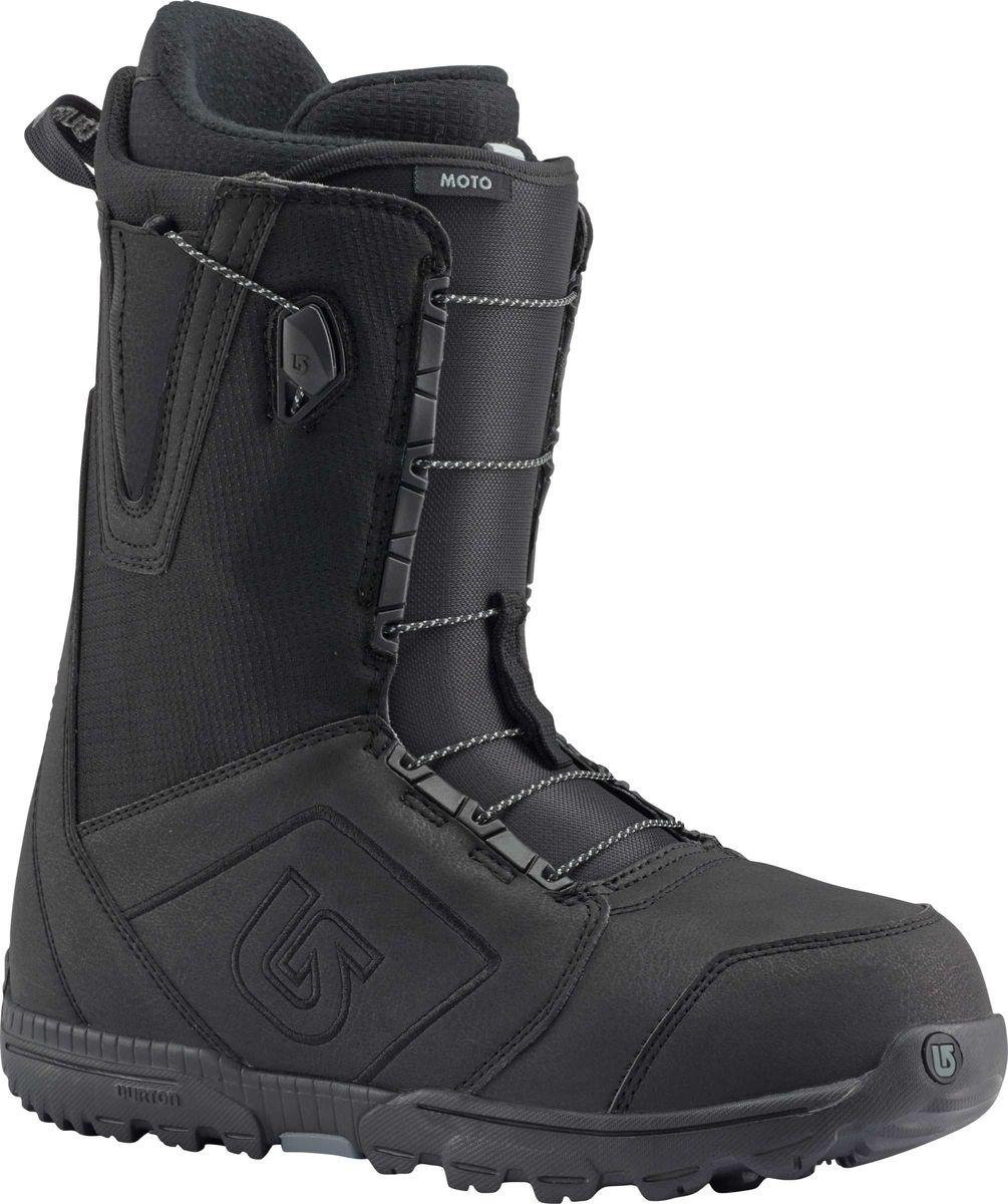 Ботинки для сноуборда Burton Moto, цвет: черный. Длина стельки 29,5 см10436103001Бессменный лидер продаж среди ботинок. А все потому,что он оснащен шнуровкой Speed Zone и покупка не ударит по вашему кошельку.Ультра-легкая подошва с отличной амортизацией, конструкция Total Comfort, которая подразумевает максимальное удобство с первого дня использования без необходимости разнашивать ботинок.Одна из самых популярных моделей не только в коллекции брэнда, но и вообще в мире!Как выбрать сноуборд. Статья OZON Гид