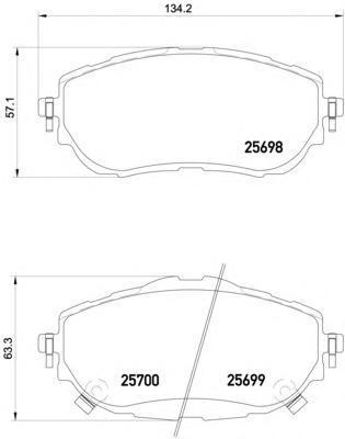 Колодки тормозные передние Textar 25698012569801