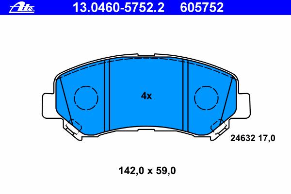 Колодки тормозные дисковые Ate 1304605752213046057522
