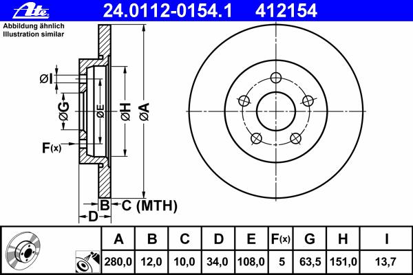 Диск тормозной Ate 24011201541 комплект 2 шт24011201541