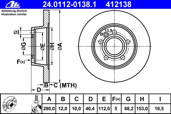 Диск тормозной Ate 24011201381 комплект 2 шт24011201381