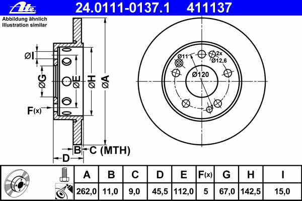 Диск тормозной Ate 24011101371 комплект 2 шт24011101371