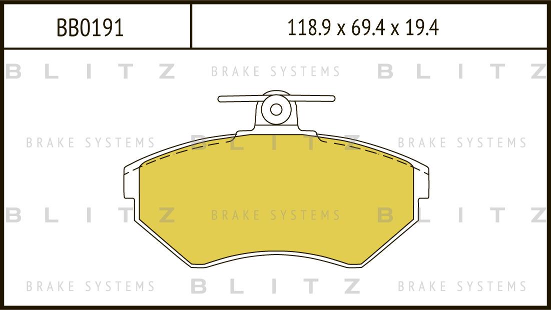 Колодки тормозные дисковые BLITZ автотовары BB0191BB0191