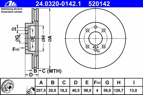 Диск тормозной Ate 24032001421 комплект 2 шт24032001421