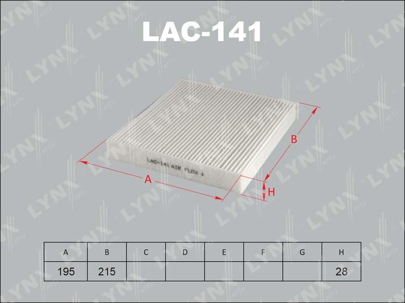 Фильтр салона Lynx LAC141 фильтр воздушный lynx la113