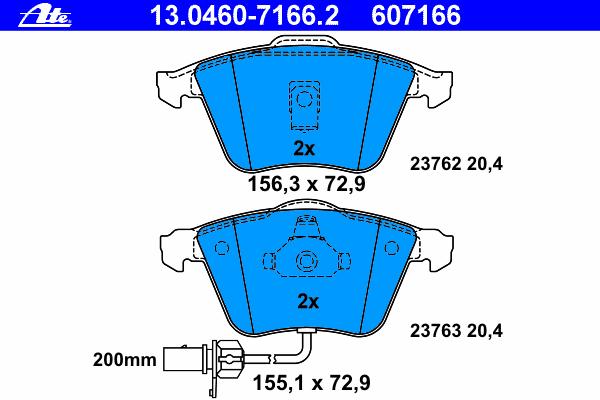 Колодки тормозные дисковые Ate 1304607166213046071662