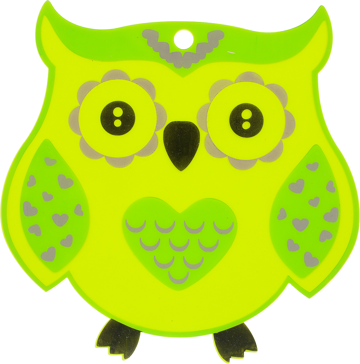 Подставка термостойкая Marmiton Сова, силиконовая, цвет: салатовый, 18,5 х 18,5 см салфетка для сервировки стола marmiton термостойкая подставка складная marmiton красный 21 6х21 6х1 см