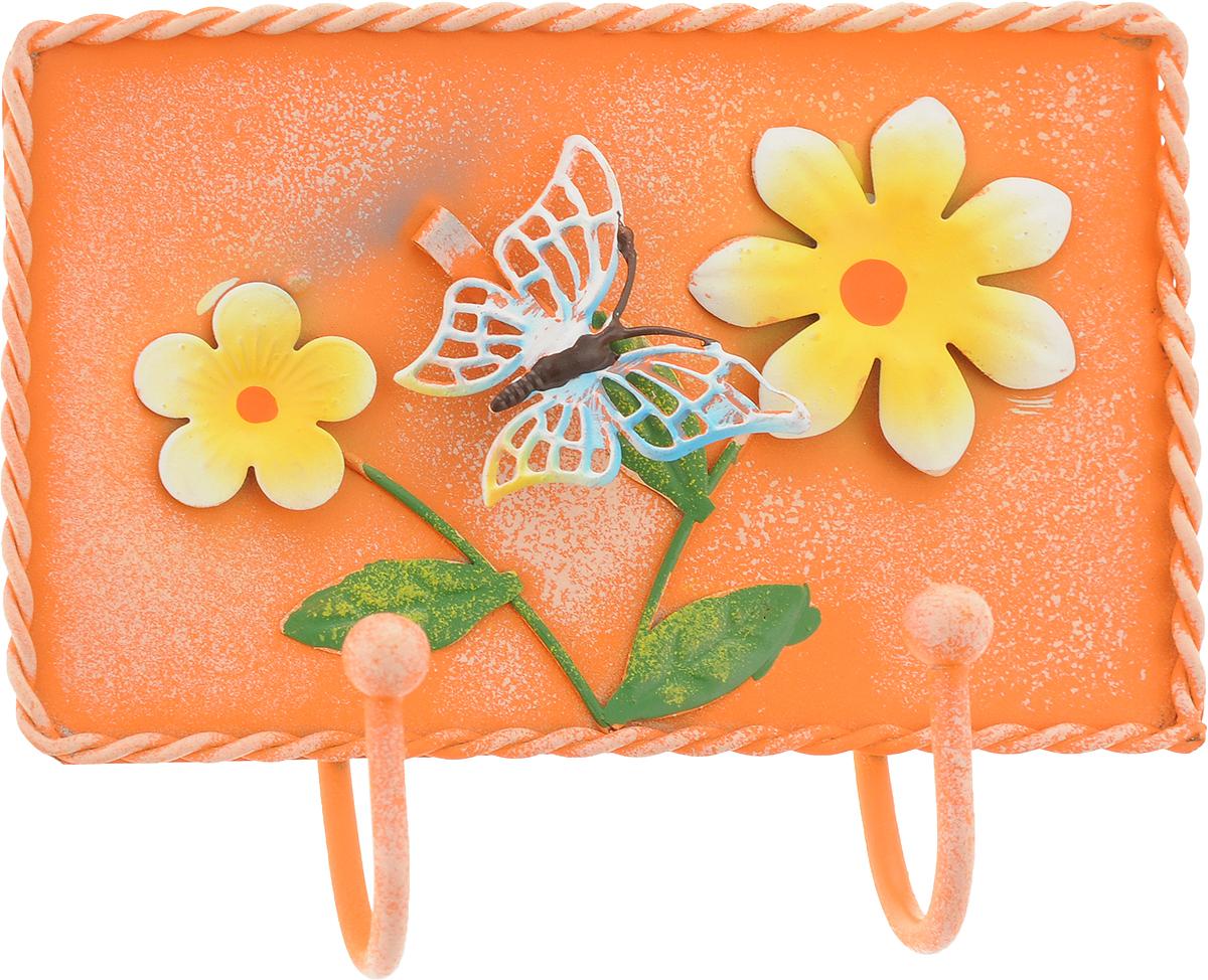 Вешалка-крючок Magic Home, двойной, цвет: оранжевый. 4388743887_оранжевыйНастенная вешалка-крючок Magic Home, изготовленная из жести, имеет 2 крючка и декорирована объемными фигурками в виде цветов и бабочки. Вешалка-крючок идеальна для спальни, прихожей, ванной комнаты. Крепежные элементы для монтажа к стене не входят в комплект.