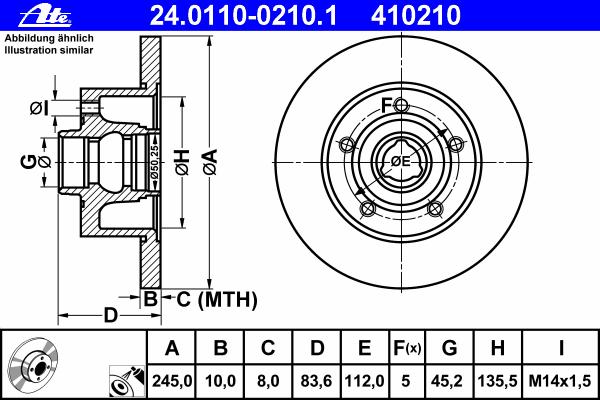 Диск тормозной Ate 24011002101 комплект 2 шт24011002101