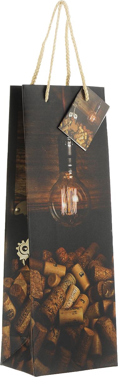 Пакет подарочный Magic Home Винные пробки, 12,7 x 36 x 8,3 см76476Подарочный пакет для бутылки Magic Home, изготовленный из плотной бумаги, станет незаменимым дополнением к выбранному подарку. Дно изделия укреплено картоном, который позволяет сохранить форму пакета и исключает возможность деформации дна под тяжестью подарка. Пакет выполнен с глянцевой ламинацией, что придает ему прочность, а изображению - яркость и насыщенность цветов. Для удобной переноски имеются две ручки в виде шнурков.