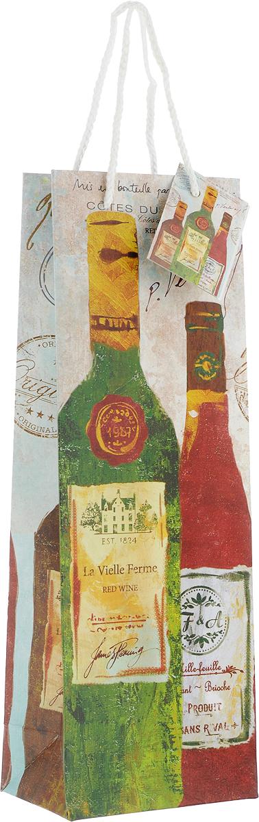 Пакет подарочный Magic Home Бутылки вина, 12,7 x 36 x 8,3 см76477Подарочный пакет для бутылки Magic Home, изготовленный из плотной бумаги, станет незаменимым дополнением к выбранному подарку. Дно изделия укреплено картоном, который позволяет сохранить форму пакета и исключает возможность деформации дна под тяжестью подарка.Пакет выполнен с глянцевой ламинацией, что придает ему прочность, а изображению - яркость и насыщенность цветов. Для удобной переноски имеются две ручки в виде шнурков.