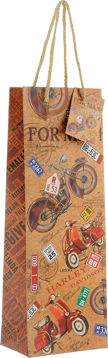 Пакет подарочный Magic Home Ретро мопеды, 12,7 x 36 x 8,3 см76475Подарочный пакет для бутылки Magic Home, изготовленный из плотной бумаги, станет незаменимым дополнением к выбранному подарку. Дно изделия укреплено картоном, который позволяет сохранить форму пакета и исключает возможность деформации дна под тяжестью подарка. Пакет выполнен с глянцевой ламинацией, что придает ему прочность, а изображению - яркость и насыщенность цветов. Для удобной переноски имеются две ручки в виде шнурков.
