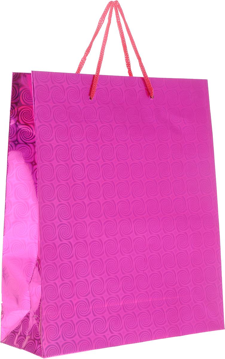 Пакет подарочный Magic Home Пурпурный глянец, 24 x 28 x 9 см76567Подарочный пакет Magic Home, изготовленный из плотной бумаги, станет незаменимым дополнением к выбранному подарку. Дно изделия укреплено картоном, который позволяет сохранить форму пакета и исключает возможность деформации дна под тяжестью подарка. Пакет выполнен с глянцевой ламинацией, что придает ему прочность, а изображению - яркость и насыщенность цветов. Для удобной переноски имеются две ручки в виде шнурков.