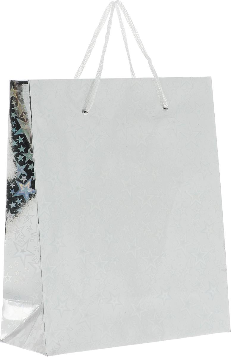 Пакет подарочный Magic Home Серебряный глянец, 19 x 22 x 8 см76563Подарочный пакет Magic Home, изготовленный из плотной бумаги, станет незаменимым дополнением к выбранному подарку. Дно изделия укреплено картоном, который позволяет сохранить форму пакета и исключает возможность деформации дна под тяжестью подарка.Пакет выполнен с глянцевой ламинацией, что придает ему прочность, а изображению - яркость и насыщенность цветов. Для удобной переноски имеются две ручки в виде шнурков.