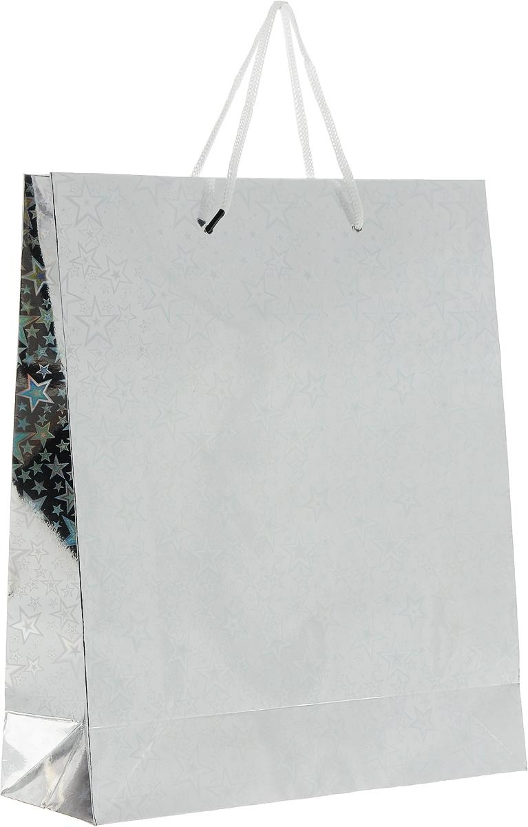 Пакет подарочный Magic Home Серебряный глянец, 24 x 28 x 9 см76569Подарочный пакет Magic Home, изготовленный из плотной бумаги, станетнезаменимым дополнением к выбранному подарку. Дно изделия укрепленокартоном, который позволяет сохранить форму пакета и исключает возможностьдеформации дна под тяжестью подарка.Пакет выполнен с глянцевой ламинацией, что придает ему прочность, аизображению - яркость и насыщенность цветов. Для удобной переноски имеютсядве ручки в виде шнурков.