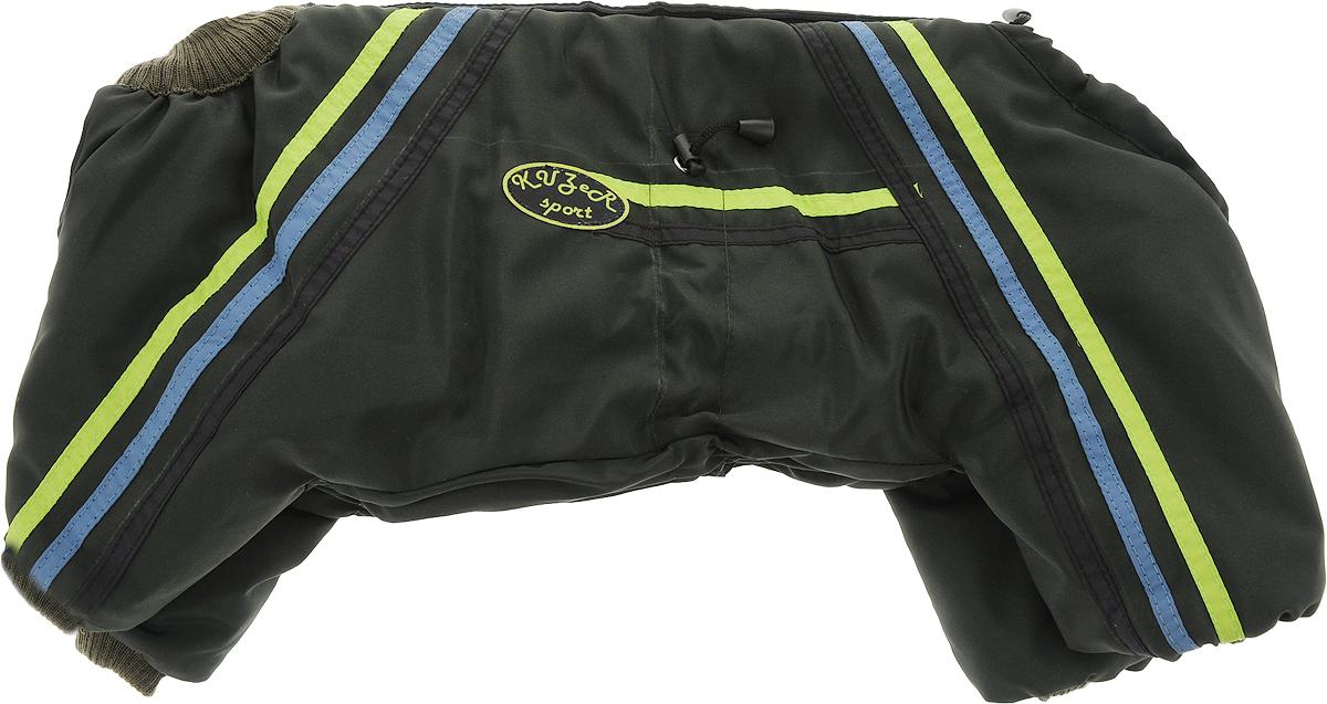 """Комбинезон для собак Kuzer-Moda """"Спринт"""", унисекс, утепленный, цвет: темно-зеленый. Размер 27"""