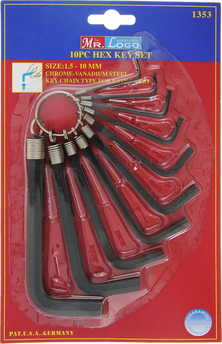 Набор шестигранных ключей Mr.Logo, Cr-V, 1,5-10 мм, 10 шт1353Набор из шестигранных ключей предназначен для работ с винтами, оснащенными внутренним шестигранным гнездом метрических размеров. В набор входят 10 ключей разных размеров. Размеры ключей: 1,5 мм, 2 мм, 2,5 мм, 3 мм, 4 мм, 5 мм, 5,5 мм , 6 мм, 8 мм, 10 мм.