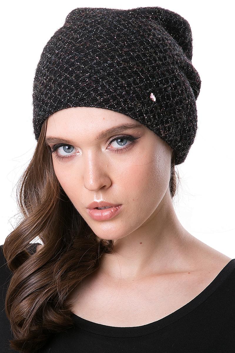Шапка женская Dispacci, цвет: черный. 21260BI. Размер 56/5821260BIШапка выполнена из качественного материала. Макушка с закладкой, что обеспечивает объем изделию. Используется модная пряжа с металлизированной нитью мульти цвета. Внутренняя шапка.