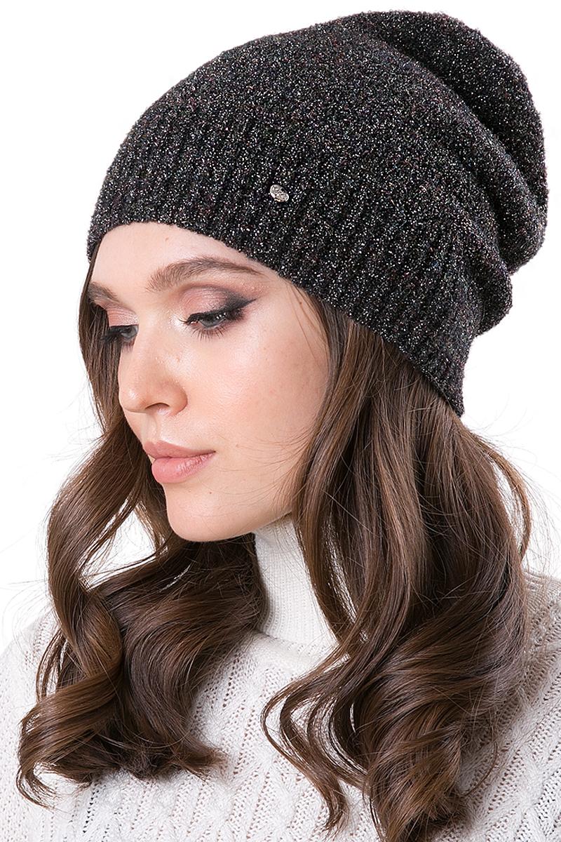 Шапка женская Dispacci, цвет: черный. 21261BI. Размер 56/5821261BIШапка колпак средней высоты. Выполнена из супермодной люксовой пряжи с высоким содержанием шерсти и блеском. Внутренняя шапка.