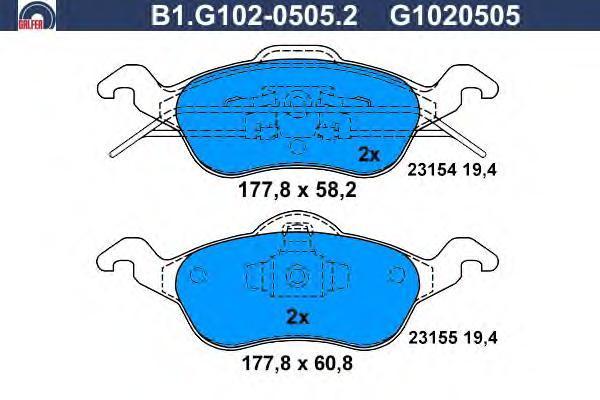 Колодки тормозные Galfer B1G10205052B1G10205052