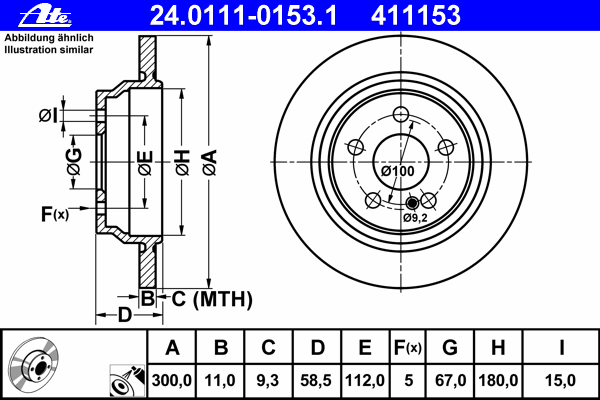 Диск тормозной Ate 24011101531 комплект 2 шт24011101531