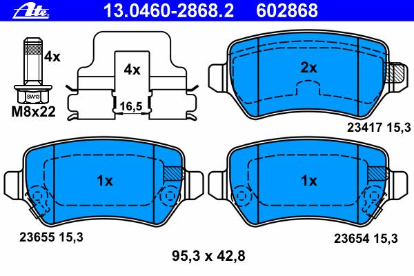 Колодки тормозные дисковые Ate 1304602868213046028682