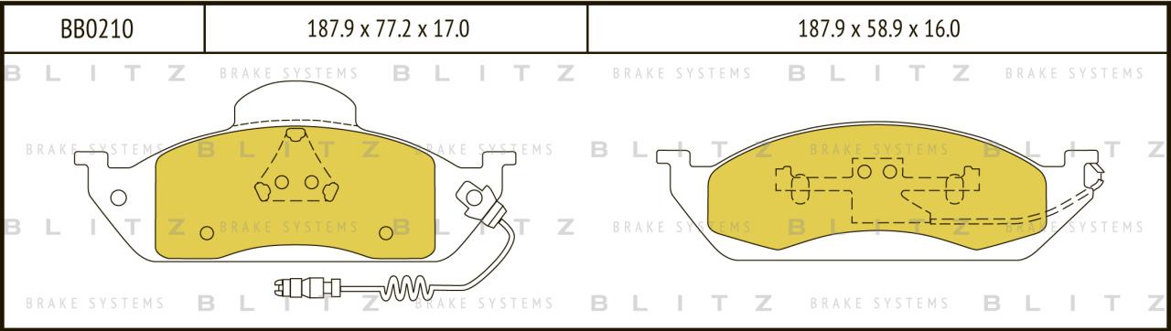 Колодки тормозные дисковые BLITZ автотовары BB0210BB0210