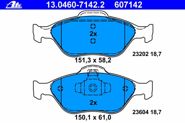 Колодки тормозные дисковые Ate 1304607142213046071422