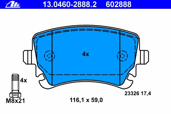 Колодки тормозные дисковые Ate 1304602888213046028882