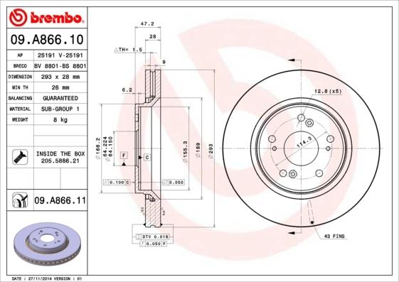Диск тормозной передний вентилируемый Brembo 09A86610 комплект 2 шт09A86610