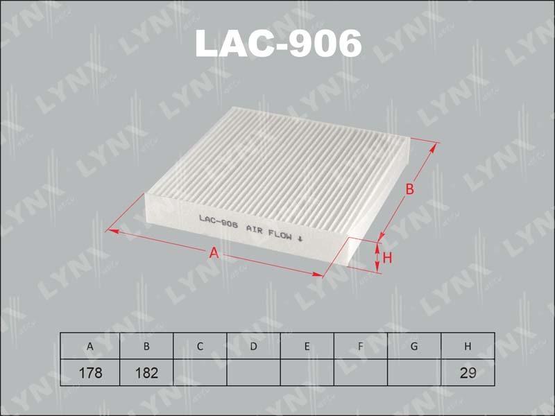 Фильтр салона Lynx LAC906 фильтр воздушный lynx la113