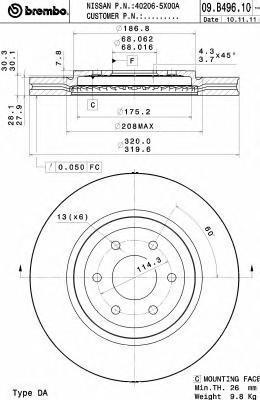 Диск тормозной передний Brembo 09B4961009B49610