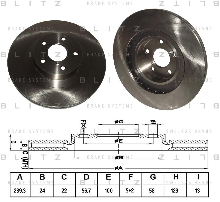Диск тормозной BLITZ автотовары BS0166BS0166
