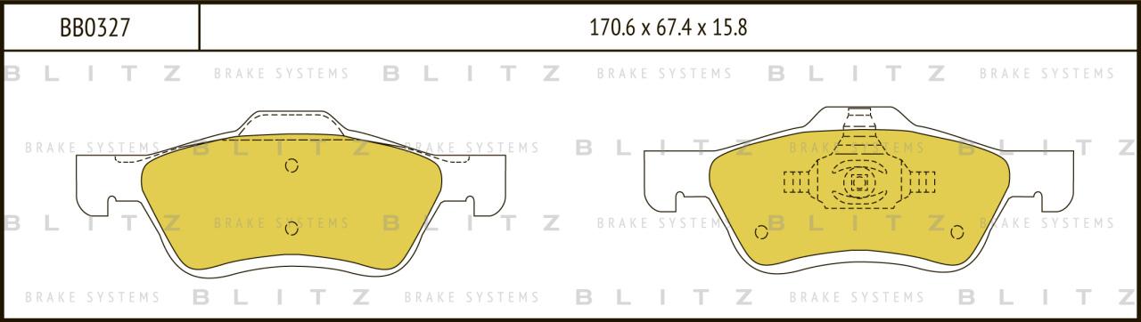 Колодки тормозные дисковые BLITZ автотовары BB0327BB0327