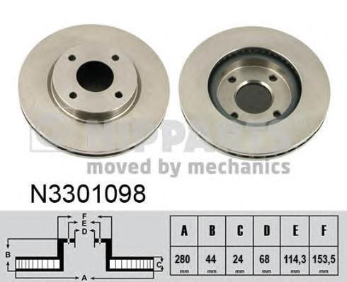 Диск тормозной передний Nipparts N3301098 комплект 2 штN3301098