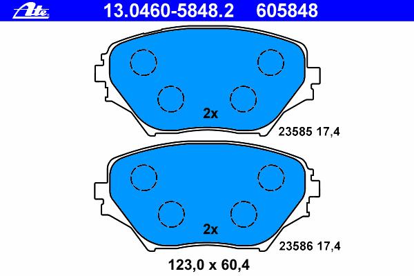 Колодки тормозные дисковые Ate 1304605848213046058482