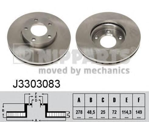 Диск тормозной передний вентилируемый Nipparts J3303083 комплект 2 штJ3303083
