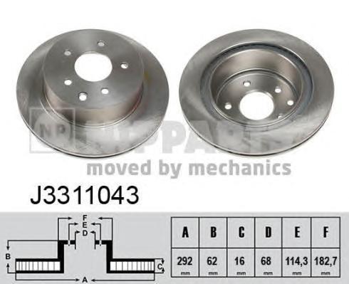Диск тормозной задний вентилируемый Nipparts J3311043J3311043