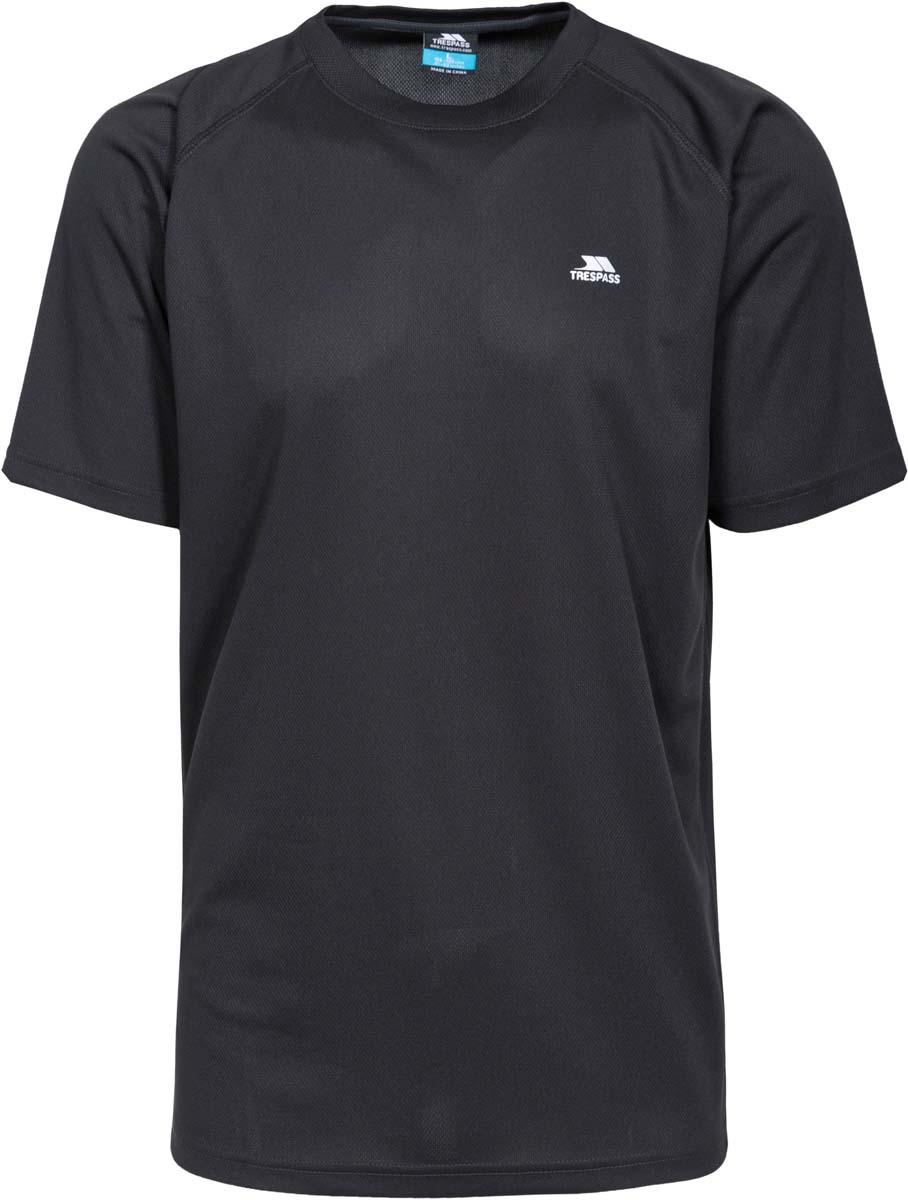 Футболка муж Trespass Debase, цвет: черный. MATOTSL10012. Размер M (50)MATOTSL10012Великолепная футболка для занятия спортом. Выполнена из легкого, дышашего, влаговыводящего, быстросохнущего материала.
