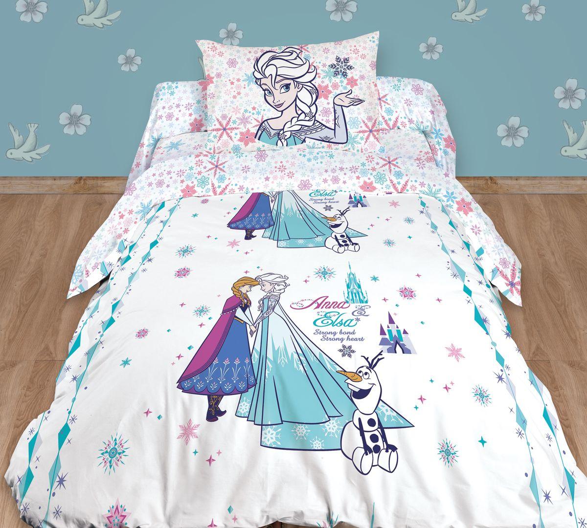 Комплект белья детский Disney, 1,5-спальный, наволочка 70x70, цвет: белый комплект белья seta torme 1 5 спальный наволочки 70x70 цвет голубой