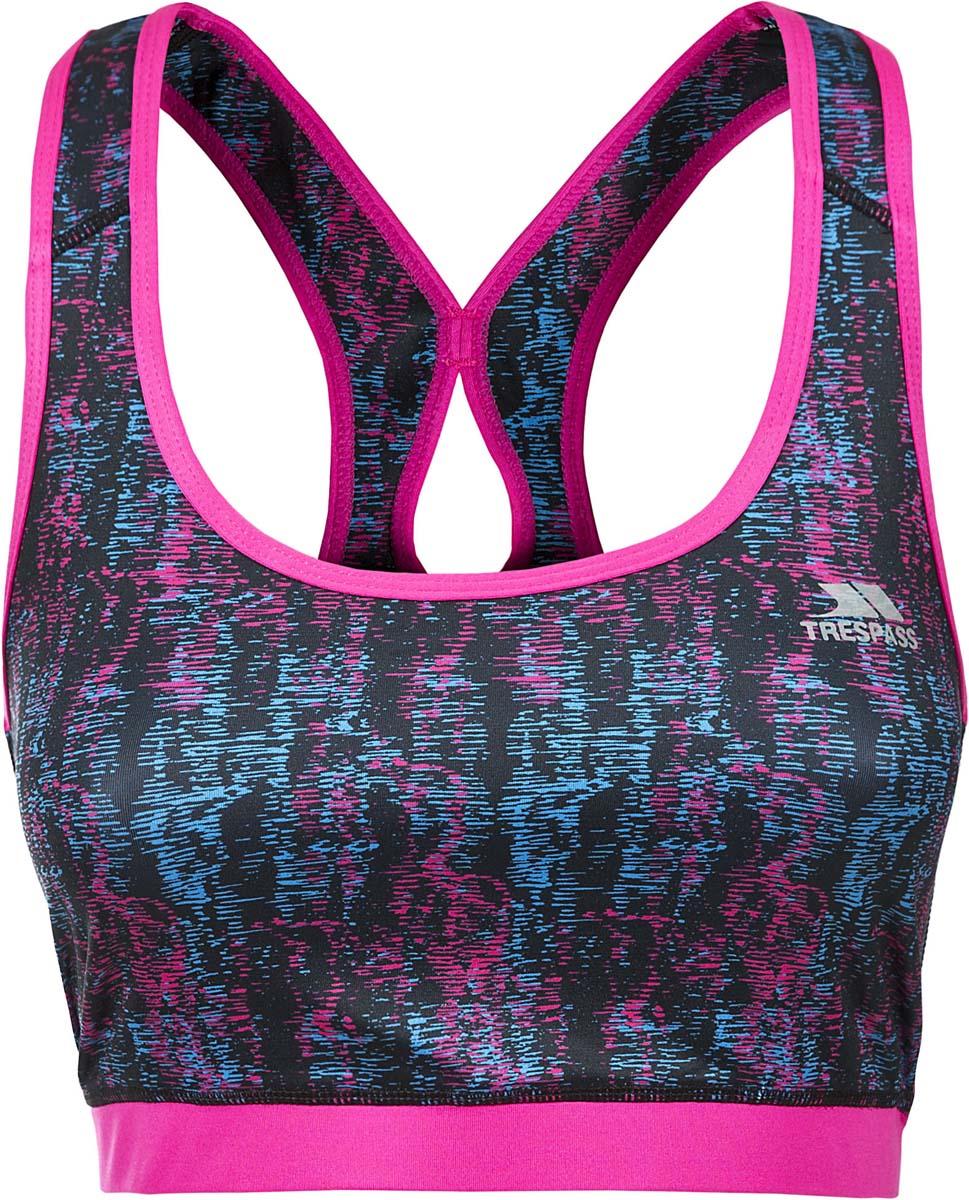 Топ жен Trespass Yoki, цвет: синий, розовый. FATOVTM10005. Размер L (48)FATOVTM10005Великолепный топ-лиф для занятия спортом. Выполнен из легкого, дышашего, влаговыводящего, быстросохнущего материала.
