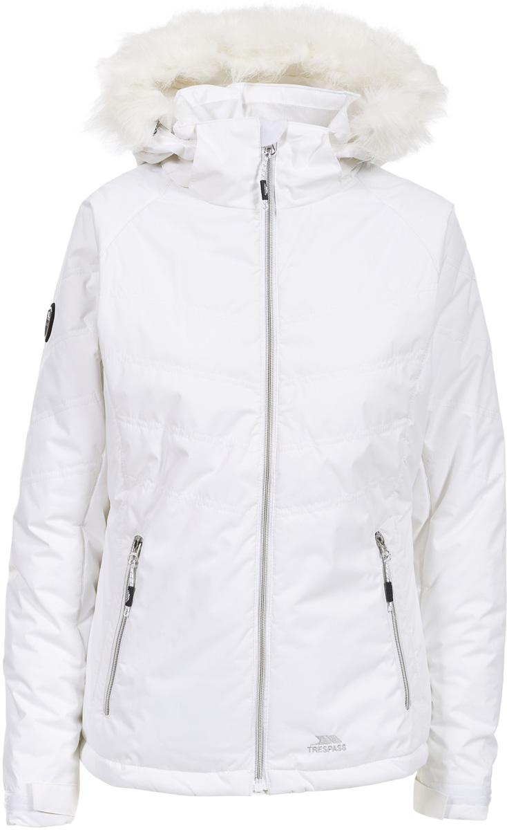 Куртка жен Trespass Jolie., цвет: белый. FAJKRAL20011. Размер L (48)FAJKRAL20011Стильная женская куртка из мембранного материала с показателями водонепроницаемости 2000мм. Прекрасно защитит от дождя и ветра. Все швы проклеены.