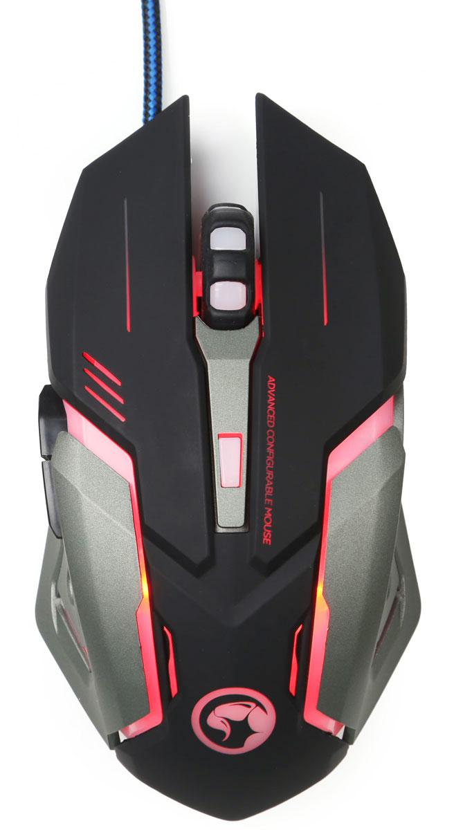Marvo M314 игровая мышьM314Marvo M314 - игровая премиальная проводная оптическая мышь с многоцветной дышащей подсветкой, игровым сенсором и профессиональными переключателями.Данная модель порадует вас стильным дизайном корпуса – разработчики явно черпали вдохновение из фильмов с космическими кораблями и технологиями будущего.Кроме стильного дизайна, мышка еще и начинкой хороша – оптический сенсор, максимальная чувствительность 3200 dpi, четырехцветная дышащая подсветка, прочный кабель.Отдельно стоит похвалить колесико прокрутки – оно имеет специальную форму для удобства использования.