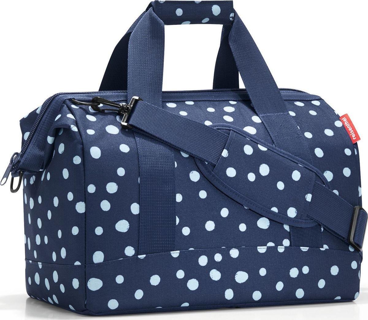 Сумка женская Reisenthel, цвет: синий. MS4044MS4044Практичная сумка для спорта и путешествий. Приятные объемные стенки и дно создают силуэт, напоминающий старинные врачебные сумки.- встроенные металлические скобы фиксируют сумку в открытом положении;- 6 внутренних карманов;- две удобные ручки и регулируемый ремень;- объем – 18 литров.