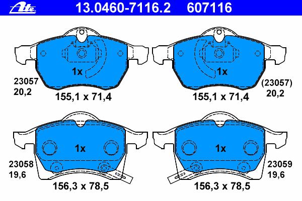 Колодки тормозные дисковые Ate 1304607116213046071162