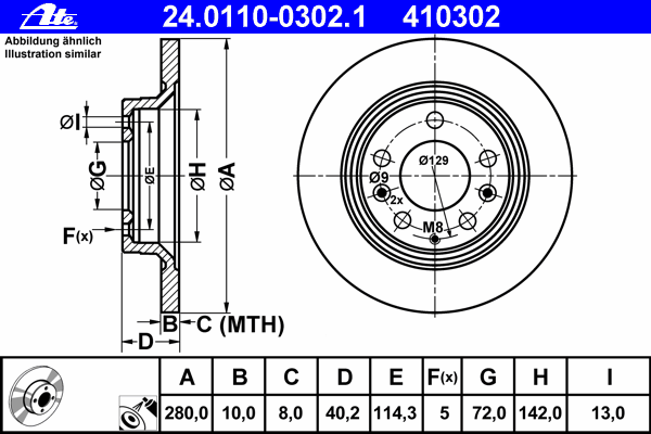 Диск тормозной Ate 24011003021 комплект 2 шт24011003021