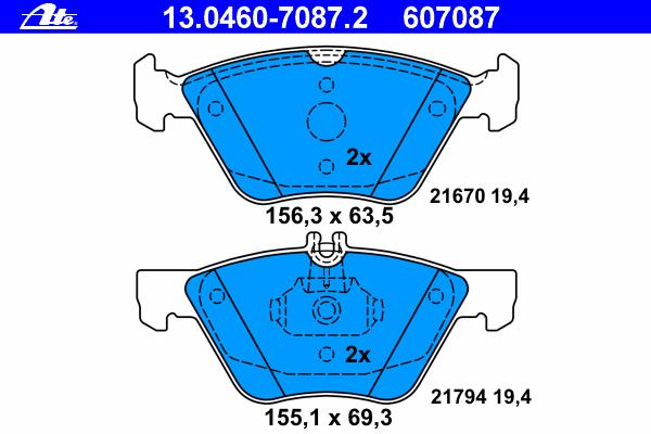 Колодки тормозные дисковые Ate 1304607087213046070872